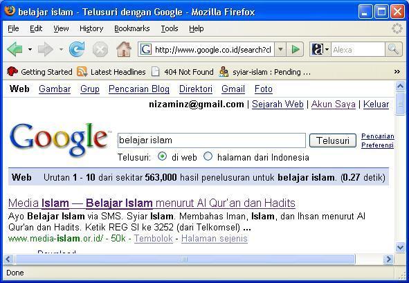 Hasil pencarian Google dari 500 ribu halaman lebih muncul di urutan pertama